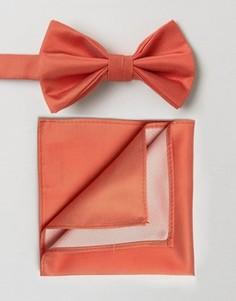 Розовый галстук-бабочка и платок для пиджака ASOS WEDDING - Розовый