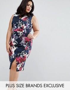Платье-футляр с цветочным принтом Coast Plus Penelope - Темно-синий