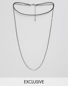 Серебристое ожерелье-чокер с цепочкой DesignB London - Серебряный