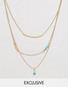 Ожерелье из цепочек с подвесками Reclaimed Vintage Inspired - Золотой