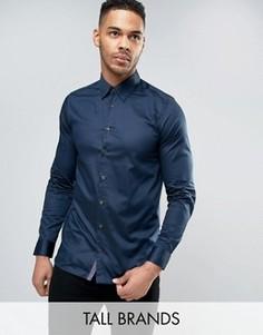 Строгая рубашка из атласной эластичной ткани Ted Baker TALL - Темно-синий