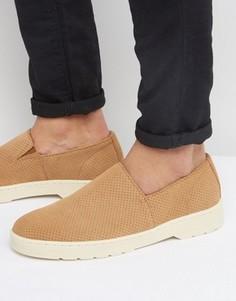 Замшевые туфли-слипоны с перфорацией Dr Martens Plano - Рыжий