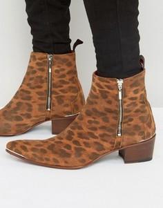 Ботинки на молнии с леопардовым принтом Jeffery West Sylvian - Рыжий