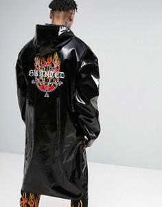 Черный oversize-макинтош с принтом на спине Granted - Черный