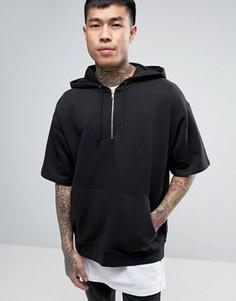 Черный oversize-худи с короткими рукавами ASOS - Черный
