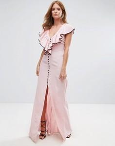 Платье макси с оборкой Millie Mackintosh - Розовый