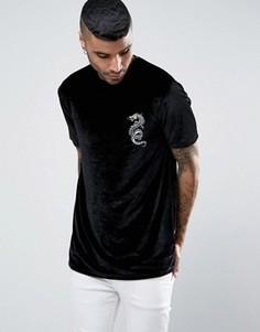 Длинная бархатная футболка с драконом ASOS - Черный