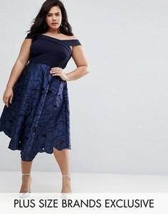 Платье миди 2-в-1 с прорезным кружевом Coast Plus Valerie - Темно-синий