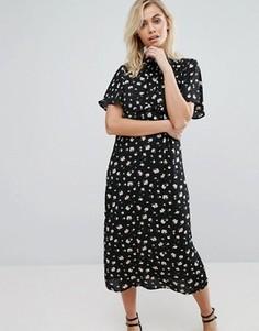 Платье миди с цветочным принтом Fashion Union - Мульти