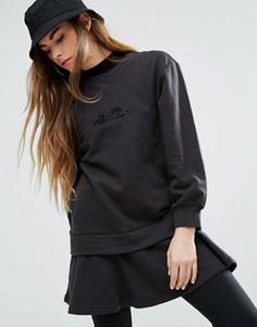 Свободное платье-свитшот с двухслойной отделкой и баской Ellesse - Черный
