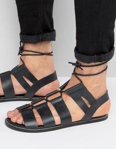 Черные кожаные сандалии-гладиаторы на шнуровке ASOS - Черный