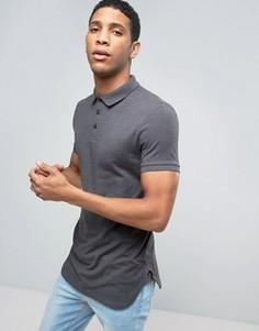Темно-серая обтягивающая меланжевая футболка-поло с закругленным нижним краем ASOS - Серый