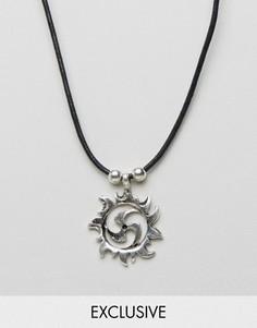 Ожерелье с подвеской в виде солнца Reclaimed Vintage Inspired - Серебряный