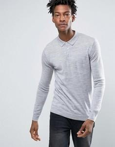 Поло с длинными рукавами и добавлением мериносовой шерсти Minimum Jaylen - Серый