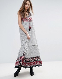 Платье макси с принтом на кокетке и по нижнему краю Raga Dreamweaver - Мульти