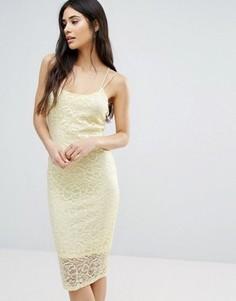 Кружевное облегающее платье Girls On Film - Желтый