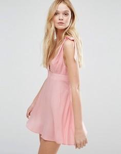 Пляжный сарафан с асимметричной завязкой на одном плече ASOS - Розовый