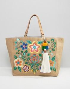 Пляжная сумка-тоут с разноцветной вышивкой Star Mela - Мульти