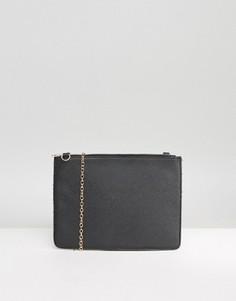 Фактурный клатч на молнии со съемной цепочкой Missguided - Черный