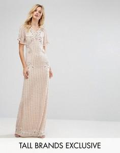 Платье макси с расклешенными рукавами Frock And Frill Tall - Розовый