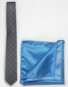 Черный однотонный галстук и платок для нагрудного кармана Selected - Черный