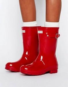 Красные короткие резиновые сапоги в стиле милитари Hunter Original - Красный