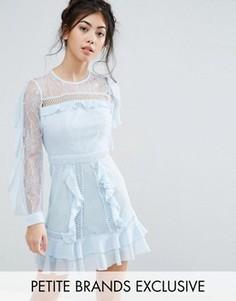 Кружевное платье с длинными рукавами и оборками True Decadence Petite - Синий