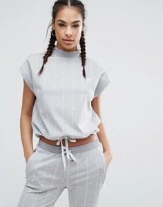Топ в тонкую полоску с высоким воротником и шнурком на талии adidas Originals Tokyo - Серый