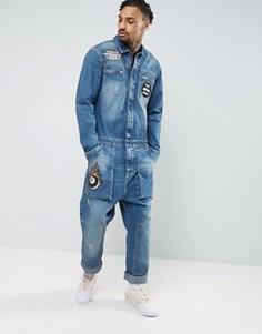 Синий джинсовый комбинезон с нашивками ASOS - Синий