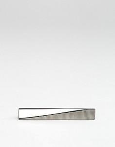 Узкий зажим для галстука с геометрическим дизайном ASOS - Серебряный