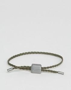 Зеленый плетеный кожаный браслет Ted Baker - Зеленый
