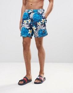 Темно-синие шорты для плавания с цветочным принтом Timberland - Темно-синий