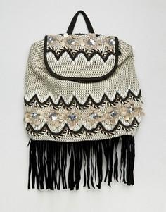Фестивальная сумка с отделкой и бахромой America & Beyond - Кремовый