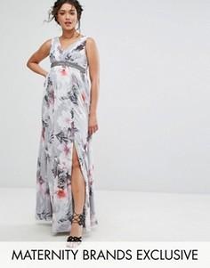 Платье макси с глубоким вырезом и цветочным принтом Little Mistress Maternity - Мульти