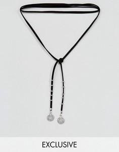 Замшевое ожерелье-чокер с подвесками Reclaimed Vintage Inspired - Черный