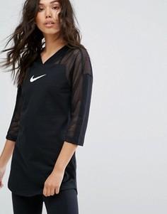 Длинный топ с сетчатой вставкой Nike - Черный