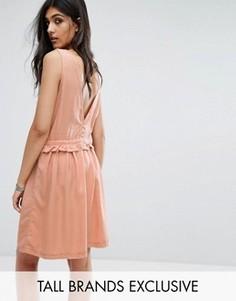 Платье со шнурком на талии и пуговицами на спине Noisy May Tall - Оранжевый
