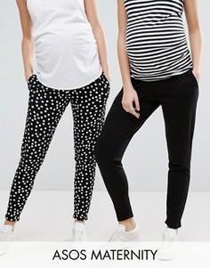 Комплект из 2 пар трикотажных брюк-галифе для беременных ASOS Maternity, однотонные черные и с принтом в горошек, СКИДКА 25 - Мульти