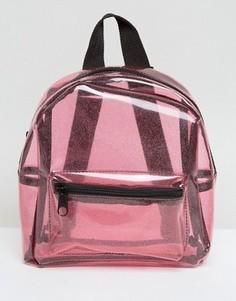 Прозрачный рюкзак с блестками Missguided - Розовый