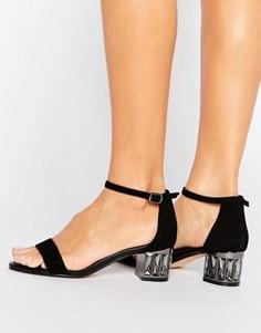Замшевые босоножки на среднем каблуке с камнями Dune Marcee - Черный