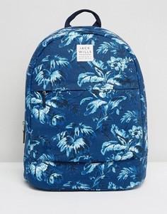 Хлопковый рюкзак с сине-белым цветочным принтом Jack Wills - Белый