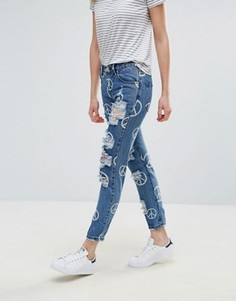 Рваные джинсы бойфренда с символом мира Glamorous - Синий