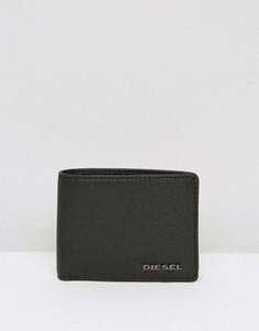 Черный кожаный бумажник с контрастной отделкой внутри Diesel - Черный