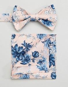 Галстук-бабочка и платок-паше розового цвета с цветочным принтом ASOS WEDDING - Розовый