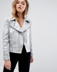 Байкерская куртка с принтом пейсли и эффектом металлик Helene Berman - Серебряный