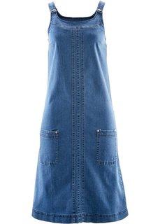 Джинсовое платье-сарафан стретч (синий «потертый») Bonprix
