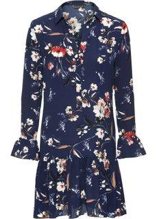 Платье с цветочным принтом (темно-синий с узором) Bonprix