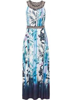 Длинное платье с принтом (цвет белой шерсти/синий с рисунком) Bonprix