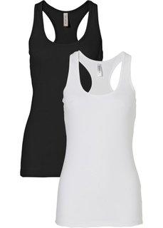 Спортивный летний топ (черный/белый) Bonprix