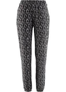 Трикотажные брюки с принтом (черный/серый с узором) Bonprix